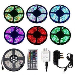 HVTKL 5M LED Bande Lumière Kit, 16.4ft 3528SMD RVB LED Étanche Flexible Couleur Du Cordon, Alimentation Et Télécommande 44 Bouton Télécommande, Décoration Maison De Fête HVTKL