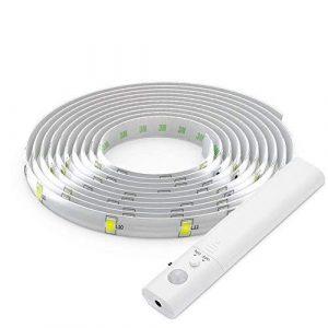 HVTKL Capteur de mouvement, Caisson lumineux à LED, bande lumineuse flexible à LED 1M / lumière blanche chaude 3000K / luminaire mural à piles, escaliers, tiroirs, armoires HVTKL