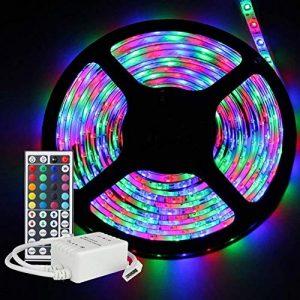HVTKL Kit de bande LED étanche, changement de couleur 5M RVB SMD3528 300LED Bande LED flexible/Bande LED avec télécommande 44Key et alimentation CC 12V HVTKL