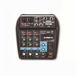 J-TUMIA Mixer Professional Audio de conférence de Performance en extérieur sur scène à 4 canaux purs avec Table de mixage A4 et Support de mixage Direct MP3 Bluetooth/Carte SD