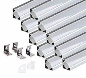 KingLed – 10 Pack Profilés Angulaires en Aluminium Anodisé LED de 2M chacun; Modèle 007 pour Bandes à LED avec Couverture Opaque en Plexiglas. Capuchons et Clips de fixation.