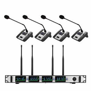 Kit Microphone à condensateur Système Microphone sans Fil Professionnel 4 canaux UHF sans Fil Mic Set avec 4 Casque Mics