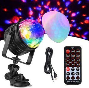 Kohree Boule Disco Jeux de Lumière DJ Soirée Lampe de Scène de 7 Couleurs 4 Modes Lumière de Fête Projecteur à Effets avec Télécommande Câble USB pour Disco DJ Fête Bar Club Soirée