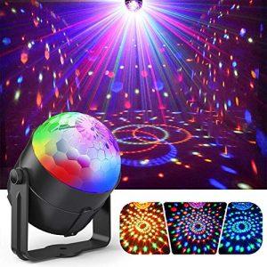 Lampe de Scène, Gvoo Lumière Fête 5W Ampoules LED 7 RGB à Commande Sonore Mini Projecteur Boule Cristal Eclairage à Télécommande pour Cadeau Scène Fête Soirée DJ Disco Bars Clubs Karaoké