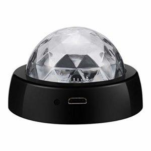 LED USB voiture atmosphère légère contrôle sonore Crystal Ball boule Disco lampe RGB coloré musique son lumière DJ Light (Noir)
