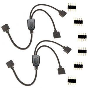 Liwinting 4 Broches 1 à 2 Ports Câble LED Splitter, Séparateur Y de Bande LED pour SMD 5050 3528 2835 RGB LED Strip Light avec Free 6pcs 4 Broches Connector, 2pcs / Pack – Noir