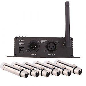 Lixada 2.4G sans fil DMX 512 Contrôleur émetteur récepteur LCD Display Power Controlleur réglable Répétiteur d'éclairage avec 6 XLR femelle Récepteur