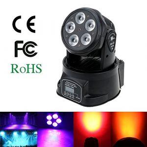 Lixada 75W 5 LED DMX512 Lyre Led,10/15 canaux Automatique Commande Vocale Rotation automatique Changement de couleurs Tête rotative Lampe de lavage pour Disco KTV Club Party