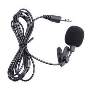 Longsw 3.5mm Clip sur mini microphone Revers Cravate mains libres Lavalier Microphone pour ordinateur portable PC BK