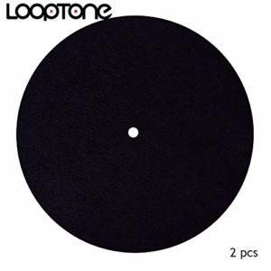 LoopTone Lot de 2 tapis de platine antidérapants en feutre pour lecteur de disques vinyles 20cm / 8in noir