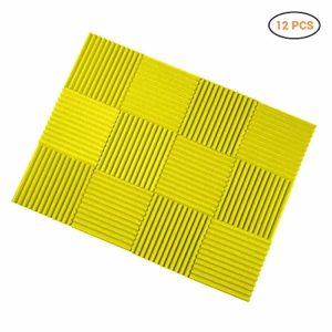 Lot de 12 plaques en mousse acoustique 30 x 30 x 2,5 cm Isolation acoustique Studio Foam Wedge Tiles – Idéal pour l'isolation acoustique de studio 01 jaune