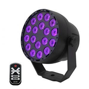 Lumière Noire UV,7 Modes Led Lumière de Scène,Contrôle Sonore Mini Projecteur 3Wx18 LED Par Lumières DJ Disco Lampe avec IR Télécommande pour Fête Étape Bar Club Discothèque Mariage Noël Eclairage(UV)