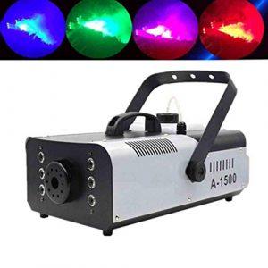 Machine à Fumée Portable 7 Couleurs 6 LED Avec Brouillard Télécommande Sans Fil Pour Halloween, Fête, Cadeau De Noël, Mariage, Théâtre, Disco Club Effet Scène -1500DANS