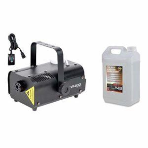machine de brouillard fumée Portable ADJ machine de fumée de 400Watts avec contrôle à distance Idéal pour les fêtes + 5litres liquide de brouillard, fumée