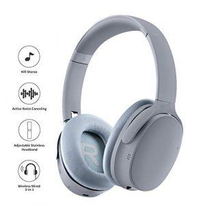 MaiTian Écouteurs sans Fil avec Technologie de Suppression du Bruit Actif sans Fil et Fonction de Retour Dual mic ANC Tech, avec étui Over Ear Headset, Microphone pour Cellule sans Fil