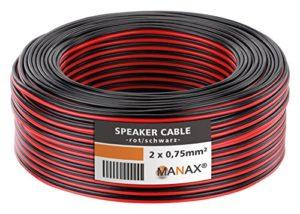 MANAX SC2075 Câble d'enceinte 2×0.75 mm² CCA (Câble d'enceinte/Câble Audio), 2×0,75mm², 10,0m, Rouge/Noir