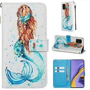 Miagon pour Samsung Galaxy A71 Housse en PU Cuir,Coque Etui Portefeuille à Rabat Clapet Support Fermeture Magnétique Stand Case Cover,Sirène
