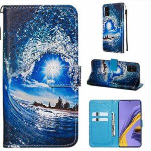 Miagon pour Samsung Galaxy A71 Housse en PU Cuir,Coque Etui Portefeuille à Rabat Clapet Support Fermeture Magnétique Stand Case Cover,Soleil Vague