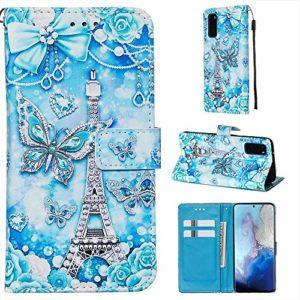 Miagon pour Samsung Galaxy S20 Plus Housse en PU Cuir,Coque Etui Portefeuille à Rabat Clapet Support Fermeture Magnétique Stand Case Cover,Tour Papillon