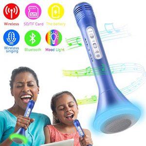 Microphone Karaoke sans Fil, Enfants Karaoke Portable Microphone Enceinte Player Enregistrement des Chansons Compatible avec Apple iPhone Android Smartphone PC iPad pour Jouer de la Musique