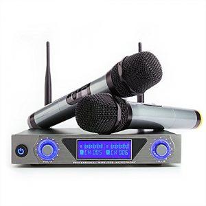 Microphone sans Fil Système UHF Moreslan Micro sans Fils Professionel 1 Récepteur + 2 Micro Portable à Main HF Écran LCD Micro Distance Double Câble 2 Canaux pour Karaoké Fête Réunion Conférence DJ