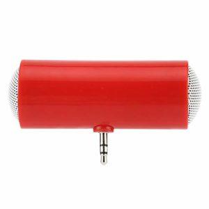 Mini Haut-Parleur Mono Double portatif avec connecteur Jack 3,5 mm Mini Haut-parleurs Audio pour téléphone Portable et Tablette (Rouge)