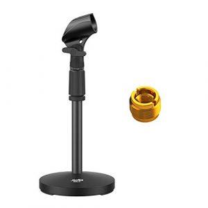Moukey Pied de Micro Table Bureau Support Microphone Hauteur Réglable 32-47 cm avec Adaptateur 5/8″ vers 3/8″