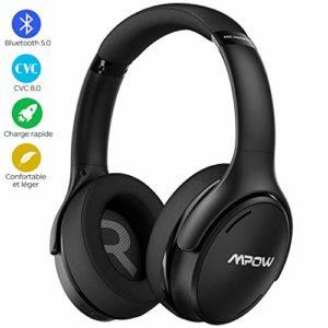 Mpow H19 IPO Casque à Réduction de Bruit Active,Casque Bluetooth 5.0,Casque Audio avec Technologie de Charge Rapide, Casque sans Fil Pliable Jusqu'à 30 Heures,CVC 8.0 pour Téléphone/Tablettes/PC