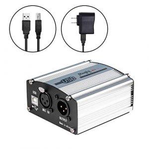Mugig Alimentation fantôme, micropuissance 48 V pour microphone à condensateur, 1 canal avec adaptateur secteur, Universal Spec – Argent