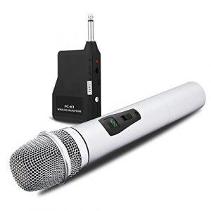 NASUM Microphone Professionnel Portable sans fil Rechargeable PC-K3 avec récepteur de 6,35 mm Conception multi-canaux pour Karaoké, Haut-parleurs PA, Amplificateur, DJ, Fête, Église, Mariage (Argent)