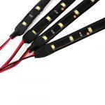 Neuftech® 4x Bande Eclairage Flexible Lampe 15 SMD LEDs 30cm 12V Etanche blanc pour voiture 30cm