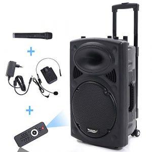 Novonova PORT12VHF Enceinte Sono Portable 12″/30 cm 700W LED RVB, Haut parleur avec Micro Sans Fil & Micro Fil, Support Lecteur MP3/WMA,Guitare Input (USB/SD/AUX/BT,Chassis ABS,Batterie longue durée)