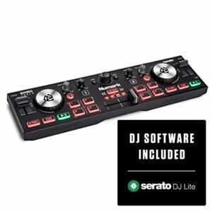 Numark DJ2GO2 Touch – Contrôleur DJ USB compact pour Serato DJ avec 2 decks, table de mixage / crossfader, interface audio et Jog wheels tactiles