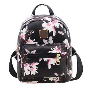 OneMoreT Sac à dos de voyage en similicuir pour femme Motif floral Flowers Black