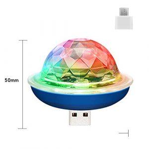 PeiQila Mini Lampe Disco USB Portable sans Fil – Boule Disco à LED activée par Le Son – Lumière stroboscopique pour fête DJ avec Prise Compatible Type-C Interface Bleu