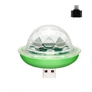 PeiQila USB Mini Disco Party Light – lumières Disco Ball Portables sans Fil activées par Son Parti LED stroboscopique DJ Stage lumière avec Prise Compatible