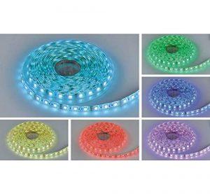 Profi LED 5M bande LED avec 300LED (SMD5050), 16couleurs, avec télécommande infrarouge Contrôleur et bloc d'alimentation 60W 12V étanche