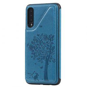 Ramcox Galaxy A50 Coque, Premium Étui Portefeuille en Cuir, Résistant aux Chocs Housse à Rabat avec Fermeture Magnétique pour Samsung Galaxy A50, Bleu