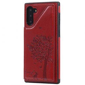 Ramcox Galaxy Note 10 Coque, Premium Étui Portefeuille en Cuir, Résistant aux Chocs Housse à Rabat avec Fermeture Magnétique pour Samsung Galaxy Note 10, Rouge