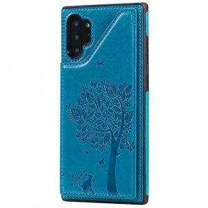 Ramcox Galaxy Note 10 Plus Coque, Premium Étui Portefeuille en Cuir, Résistant aux Chocs Housse à Rabat avec Fermeture Magnétique pour Samsung Galaxy Note 10 Plus, Bleu