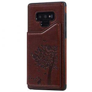 Ramcox Galaxy Note 9 Coque, Premium Étui Portefeuille en Cuir, Résistant aux Chocs Housse à Rabat avec Fermeture Magnétique pour Samsung Galaxy Note 9, Marron