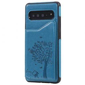 Ramcox Galaxy S10 5G Coque, Premium Étui Portefeuille en Cuir, Résistant aux Chocs Housse à Rabat avec Fermeture Magnétique pour Samsung Galaxy S10 5G, Bleu