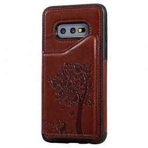 Ramcox Galaxy S10e Coque, Premium Étui Portefeuille en Cuir, Résistant aux Chocs Housse à Rabat avec Fermeture Magnétique pour Samsung Galaxy S10e, Marron