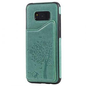 Ramcox Galaxy S8 Plus Coque, Premium Étui Portefeuille en Cuir, Résistant aux Chocs Housse à Rabat avec Fermeture Magnétique pour Samsung Galaxy S8 Plus, Vert