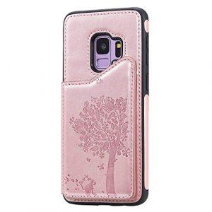 Ramcox Galaxy S9 Coque, Premium Étui Portefeuille en Cuir, Résistant aux Chocs Housse à Rabat avec Fermeture Magnétique pour Samsung Galaxy S9, Or Rose