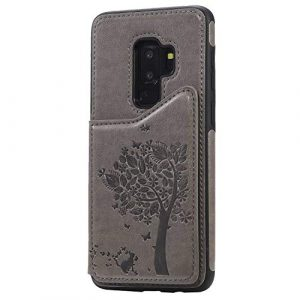 Ramcox Galaxy S9 Plus Coque, Premium Étui Portefeuille en Cuir, Résistant aux Chocs Housse à Rabat avec Fermeture Magnétique pour Samsung Galaxy S9 Plus, Gris