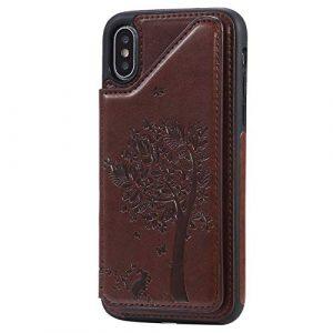 Ramcox iPhone XS/iPhone X Coque, Premium Étui Portefeuille en Cuir, Résistant aux Chocs Housse à Rabat avec Fermeture Magnétique pour iPhone XS/iPhone X, Marron