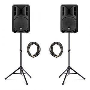 RCF ART 310A Active MK4 Lot de 2 haut-parleurs 800 W pour DJ Disco Band avec supports et câbles