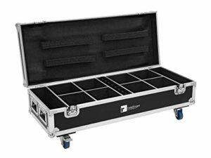 ROADINGER Lot de 8 batteries rechargeables UP-4 QuickDMX avec fonction de charge | PRO Flightcase pour 8 batteries UP-4 avec fonction de charge