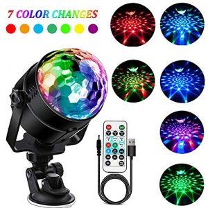 SaponinTree Lampe de Scène pour Disco, 4M RGB Couleur Lumière Fête Commande Sonore Mini Projecteur Boule Cristal avec Télécommande, pour Fête/Noël/Bar/Club/DJ Disco